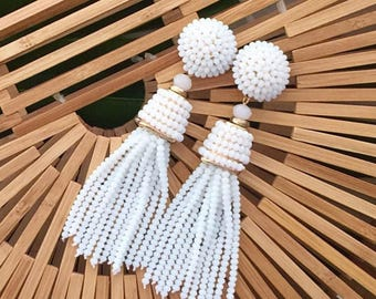 The Coquina - 3.5 Inch White Beaded Tassel Earrings by St. Armands Designs - Ships Immediately from Sunny Florida!