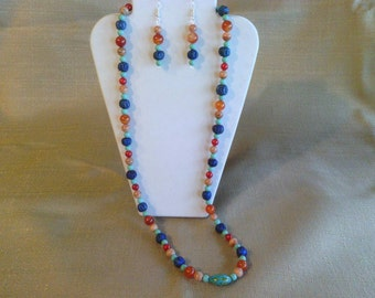 184 Attractive Multi colored, Multi Gemstone Long Beaded Necklace