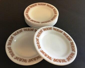 6 Vintage Pyrex plates Copper Filigree , Pyrex saucers - B8