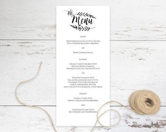 Reception Menu Template, Editable Wedding Reception Menu, Menu Card for Wedding Reception, Print on Kraft Wedding Menu