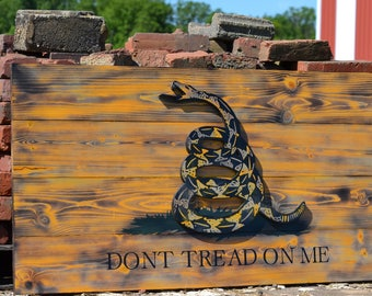 Dont Tread on Me Flag, Gadsden Flag, Wooden American Flag, Charred Flag, Vintage Flag, Rustic Flag, United States Flag, US Flag, Wall Decor