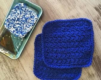 Handmade Crochet Cotton Dishcloth & Co-ordinating Kitchen Scrubber Set, Royal Blue in color