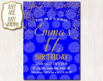 17th Birthday invitation, Royal blue and Gold Birthday invitation card, Teens Invitation, Blue Gold Confetti, Birthday, ANY AGE - 1525