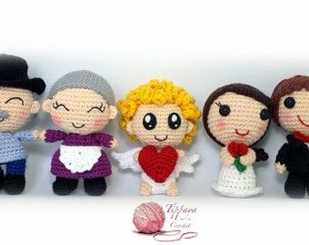 Crochet pattern of valentine set (5 patterns)