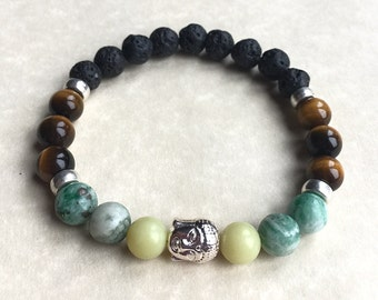 Mens lava rock bracelet,tigers eye,lemon jade,green jade,skull,unisex,womens,gemstone bracelet,healing crystals,mens gifts,spiritual,reiki