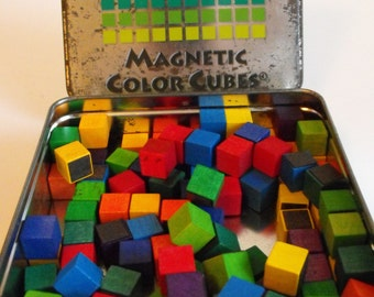 """Magnetic Color Cubes 1/2"""" Wood Cubes in Travel Tin  (651)"""
