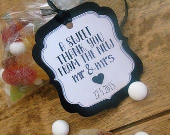 A sweet thank you sweetie tags, personalised wedding date, wedding day tags, handmade x15
