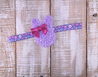 Easter Bunny Headband, Bunny Baby Headbands, Easter Infant Headbands, Bunny Rabbit Headband, Purple Easter Rabbit