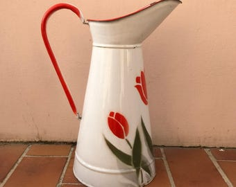 Vintage French Enamel pitcher jug water enameled white flowers 1503201730