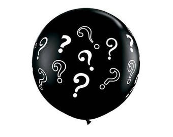 3ft Black Gender Reveal Balloon with Confetti   Boy or Girl Party Reveal
