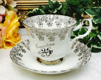Royal Albert 25th Anniversary teacup and saucer.