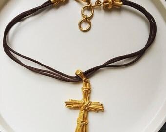 Vintage signed Christian Lacroix Gold Tone Baroque Jesus Cross Authentic Pendant with genuine leather  c. 1980