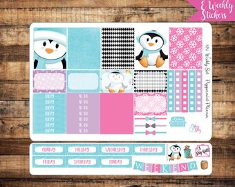 E Weekly Planner Stickers, Penguin Weekly Stickers, Planner Stickers,  {#14}