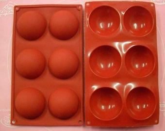Mould soft Silicone 6 petit fours / half sphere 28 X 16,5 CM