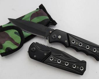 Knife Folding Pocket 9 cm round steel Outdoor Camping 11.5 cm steel blade
