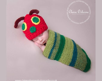The Very Hungry Caterpillar - Hat and Cocoon. Handmade Newborn photo prop. Crochet.