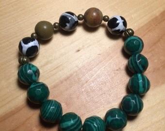 Men's Green ans Safari Agate Bracelet