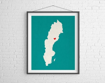 Custom Sweden Silhouette Print, Customized Country Map Art, Personalized Gift, Sweden Art, Heart Map, Stockholm Sweden Map, Swedish, Poster