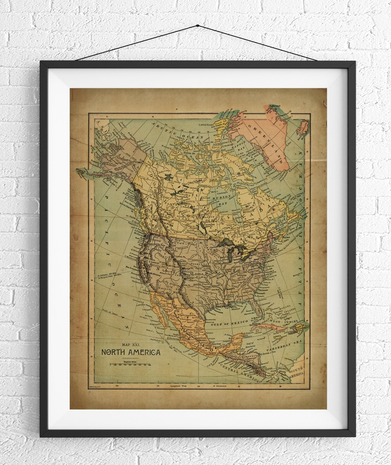 North America Map Print North American Map US Map Vintage Map - Vintage map of us