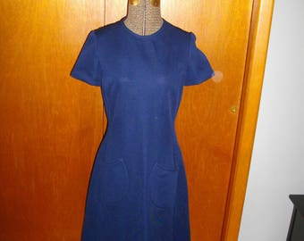 """Vintage 1960 Navy Blue Womens Dress - """"You're Going To Make It After All"""""""