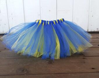 Golden State Warriors Tutu, Sports Tutu, Baby Girl Sports Tutu, Blue and Yellow Tulle Tutu Skirt