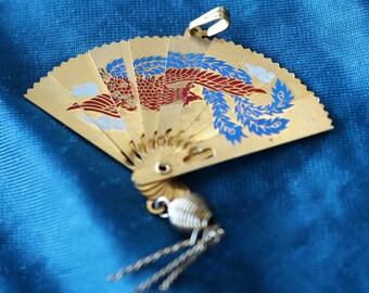 1960's Vintage gold Tone Folding Asian Fan pendant/ Bird/Crane