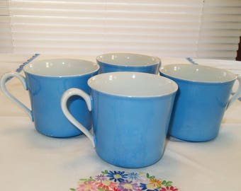 Set of Four Blue Coffee Cups Yamaka Japan Vintage Cups