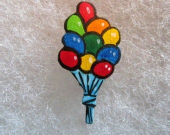 Balloons Jewelry Pin - handcarved and handpainted
