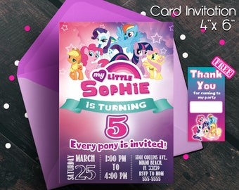 My little Pony, invitatons, My little pony birthday, My little pony party, My little pony invitation, Thank you cards free, ponys, free