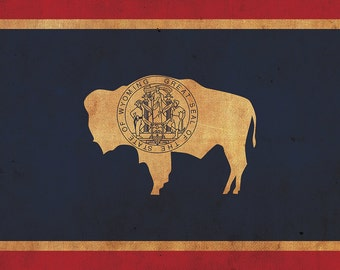 Vintage Wyoming Flag on Canvas, Wyoming, Wall Art, Wyoming Photo, Wyoming Print, Fine Art, Wyoming Flag, Single or Multiple Panels