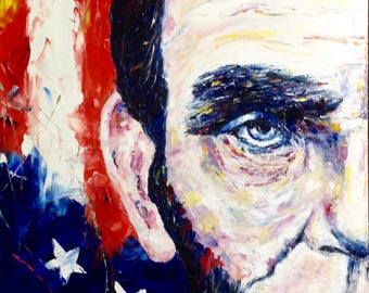 Abraham Lincoln Painting Independence Day American Patriotic Painting Portrait American Flag Lincoln Portrait Patriotic Interior Painting
