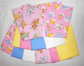 Suzy Zoo Fat Quarter Bundle 12pc. pink/blue/yellow/clouds/bedtime blanket/bears/hearts/elephants/duck/bunny/giraffe/books/alphabet  (#O189)