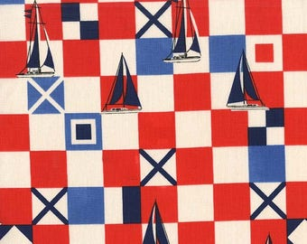Yacht Club Mariner Flags Fabric, Red  by Michael Miller