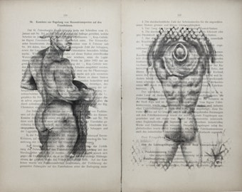 Erotic Gay poster 2 pages / Muscular mens Cowboy  / Printing Antique  German book  decor interior picture ART erotic