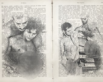 Vintage erotic Gay poster 2 pages / Muscle man love / Printing Antique  Latvian book  decor interior picture ART erotic