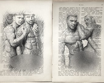 Gay erotic poster  / muscular mens love / nude body  / 2 pages printing Antique  book  decor interior picture ART erotic
