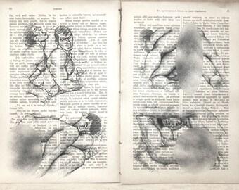 Gey erotic poster  /  nude  mens love / 2 pages Printing Antique  book  decor interior picture ART erotic souvenir
