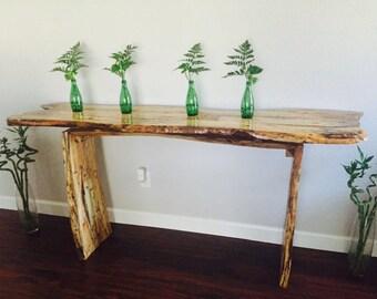 Natural Maple & Oak Live Edge entryway table