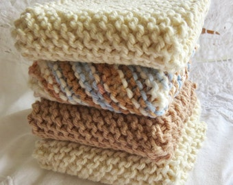 Hand-knit Cotton Dishcloths Beige, Taupe & Multi (set of 4)