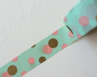 ON SALES 15mm x 5m washi masking tape - green, gold, pink, dots