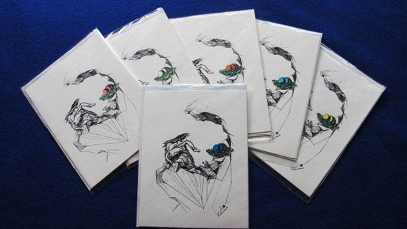 Dragon eggs: Set of 6 4.25x5.5 blank cards with envelopes