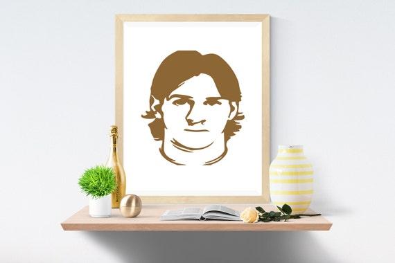 Leo Messi, Leo, Brown Print, Brown Prints, White Print, White Prints, Wall Art, Art Print, Printable Art, Wall Prints, Modern Art