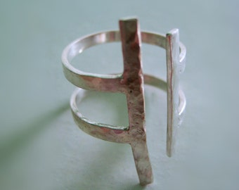 Adjustable silver ring with parallel bars, hammered ring, hammered silver ring.