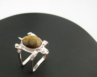 Double square silver ring, ring with tigereyes gemstone, turttle