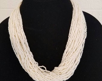 Pearl White Seed Bead Necklace, tribal necklace, statement necklace, beaded necklace