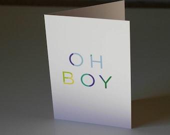 Oh Boy Greeting Card, Baby Boy Card, Mum to Be Card, New Baby Card, Baby Shower Card, Welcome Baby Card