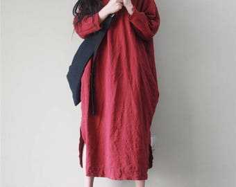 Women Leisure Boho Dress, Comfortable House Dress, Plus Size Clothing, Red Dress, Asymmetrical Cotton Tunic Dress, Linen Casual Dress