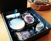 SALE DESTOCK Beautiful Gift Set, Witch Box, Uplift Set, Floral, Amethyst, Clear Quartz, Roll On Perfume Anointing Oil, Spa Gift Set