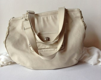 Mandarina Duck Large Cream Colored Leather Tote/Shoulder Bag/Gym Bag/Diaper Bag