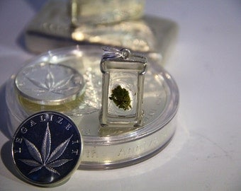 Hand Crafted Sterling Silver Cannabis Flower Pendant